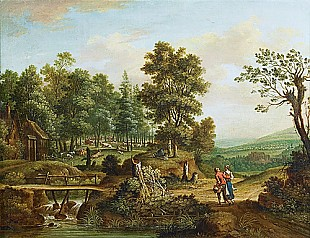 Johannes van Ravenswaay - summer landscape with watermill at a stream