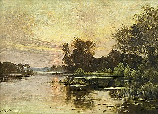 Albert Gabriel Rigolot - Sunset at a river