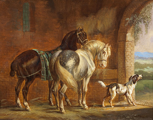 Albertus Verhoesen - Interior of the stable with horses