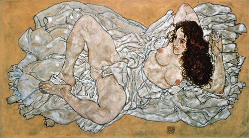 Egon Schiele - Naked woman, lying on a cloth. 1917.