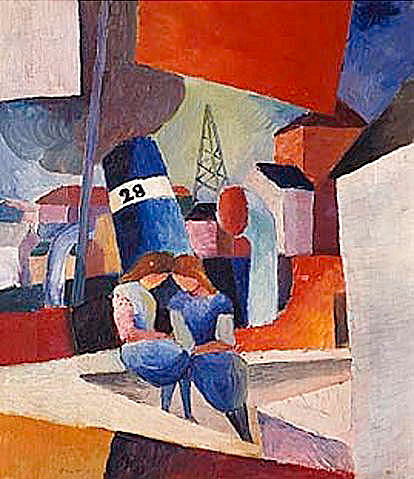 August Macke - Picture of the harbor with children on the mural (Duisburg)