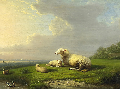 Frans van Severdonck - sheep and ducks at a lake