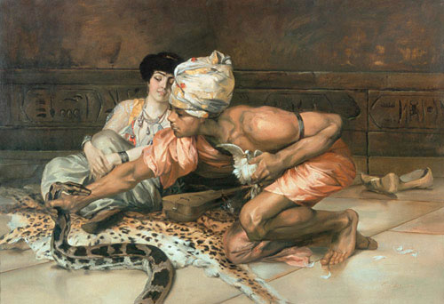 Eugène Pavy - Snake charmer and a lady of a harem