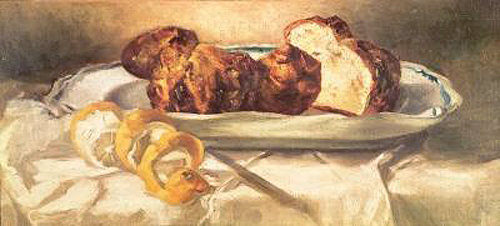 Edouard Manet - Still life with brioches and lemon