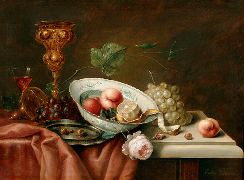 Gaston Derval - Still life with cup and fruit bowl