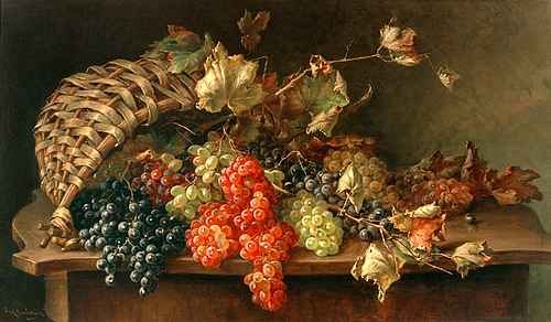 Franz Hohenberger - Still Life with grapes and basket