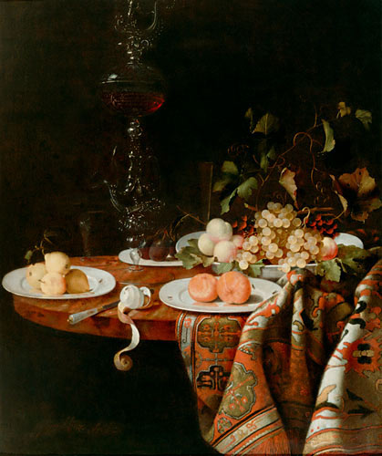 Johann Georg Hinz (Hainz) - Still life with numerous of fruits, glass cup, china scarves and carpet