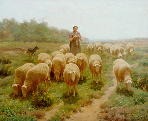 Franz de Beul - Summerday at a willow of sheep