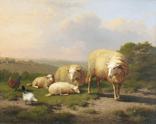 Eugène Joseph Verboeckhoven - Summery gracescene with sheeps and chicken