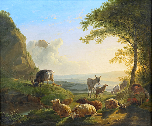 Balthasar Paul Ommeganck - Sunrise with sleeping sheperd