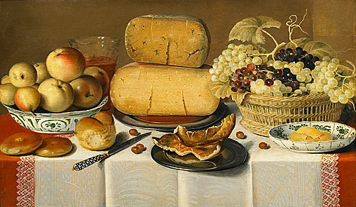Floris Claesz van Dijk - Table-still-life with cheese and fruits