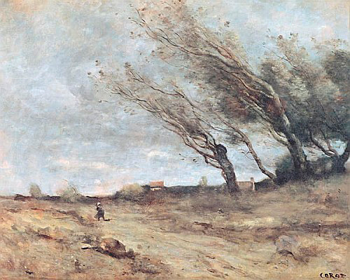 Jean Baptiste Camille Corot - The Gust of Wind