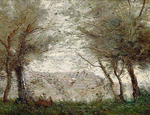 Jean Baptiste Camille Corot - The Pond at Ville-d'Avray through the Trees