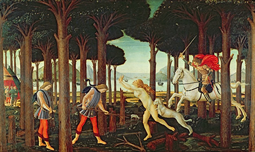 Sandro Botticelli - The Story of Nastagio degli Onesti: Nastagio's Vision of the Ghostly Pursuit in