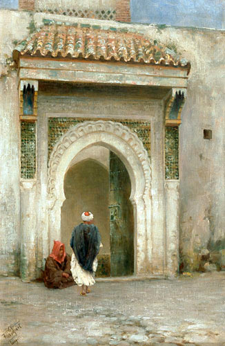 Felix Possart - Two oriental men in front of the gate of a palace in Tanger