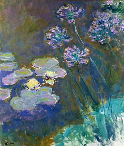 Claude Monet - Water lilies and agapanthes